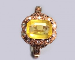925-Sterling-Silver-Rose-Gold-Plated-Ring-with-2-02-Carats-YELLOW-sapphire
