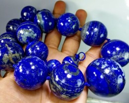 2740 CT Natural lapis lazuli Carved Ball Beads Stone Special Shape