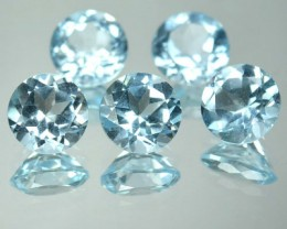 7.45 Cts Natural Sky Blue Topaz 7 mm Round 5 Pcs Parcel