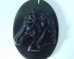 New Design,Horse Head Pendant,123ct Natural Obsidian Carved Horse Head Neck