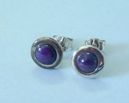 Women Earrings,6ct Natural Sugilite With Sterling 925 Silver Earring Studs(