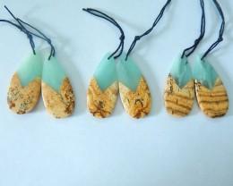 Sell 3Pairs Intarsia Earrings,Natural Amazonite,Chohua Jasper Intarsia Wate
