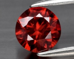 1.05 CT Round Brilliant Natural Unheated Medium Orange Zircon, Tanzania