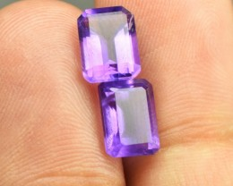 3.30 CTS NATURAL AMETHYST PAIR SUPERB LSUTER AND SHAPE AFRICA~~