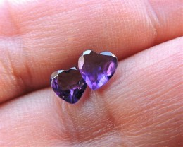 1.10ct HEART FACETED AMETHYST PAIR FROM AFRICA