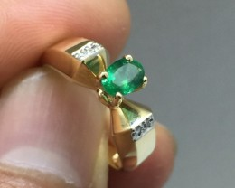 Exquisite $2975 Nat 0.65ct Emerald and Diamond 14K Solid Yllw Gold Ring