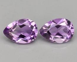 Pair 2pcs/1.33 CT IF Pear Natural Unheated Purple Amethyst