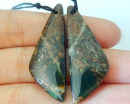 New !30ct Natural Green Opal Triangular Earrings For Women(17081508)