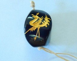 34.5ct Natural Obsidian Engraved Chinese Ancient Animal Dragon Necklace Pen