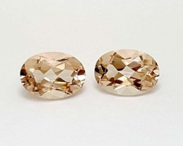 1.55 Crt Peach Morganite Pairs Natural High quality Gemstone   Jl122