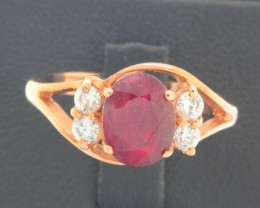 20.96ct 925 Sterling Silver Natural Ruby Ring size 7.5