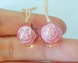 New Design!23.5ct Natural White Quartz Engraved Pink Flower Ball Shape Earr