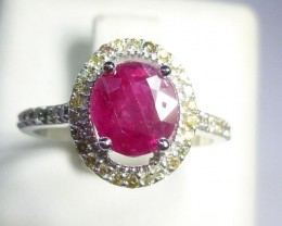 8kt White Gold Diamond ring Set with Burmese Ruby Total of 2.03ct