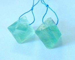 50ct Natural Green Fluorite Faceted Earrings For Women(17081605)