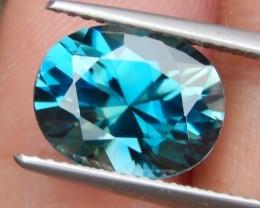 5.78cts, Blue Zircon, VVS1 Eye Clean, Precision Cut