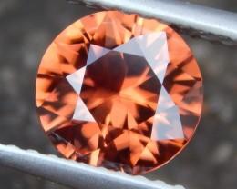 1.66cts Orange Zircon,  Eye Clean, Brilliant Cut,  Unheated, Calibrated