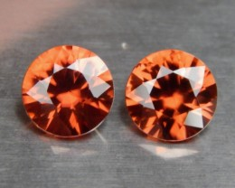 2.56cts Orange Zircon,  VVS1 Eye Clean, Brilliant Cut,  Unheated, Calibrate