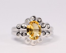 17ct Size 6 Yellow Sapphire Sterling Silver 925 Ring / White Gold Plated