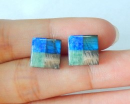 New Design!!Sale 5 kinds of Gemstone Intarsia Cabochon Pair, Natural Blue F