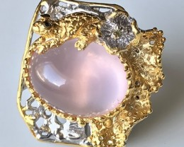 Size 8.0 Wildly beautiful Frog on Rose Quartz Pond Ring