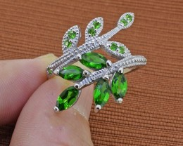 Chrome Diopside Sterling Silver Ring - Size 8.5