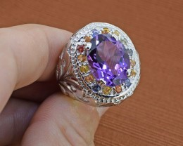 Amethyst & Sapphire Sterling Silver Ring - Size 9