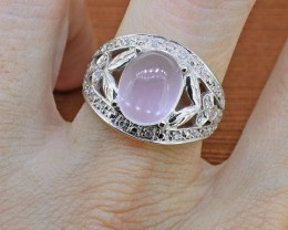 Rose Quartz & Diamond Sterling Silver Ring - Size 6