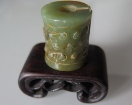 FROM A COLLECTION, NICE NATURAL OLIVE GREEN AMULET 65cts