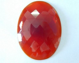 New Design!! 47ct Natural Faceted Red Agate Oval Cabochon,Semiprecious Gems