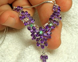 1$NR - 88.5 Tcw. Amethyst Silver 14K White Gold Plate Necklace