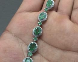Striking Natural 52.4tcw. Brazilian Emerald Bracelet Untreated