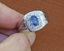 Blue Sapphire & White Topaz Sterling Silver GENTS Ring  SIZE - 10 US
