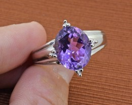 Amethyst Sterling Silver Ring - SIZE - 10 US