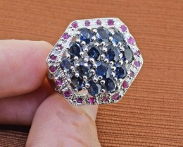 Blue Sapphire & Ruby Sterling Silver Ring - Size 8.5 US