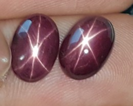 8.18cts, Star Ruby Pair, Strong Star, Color enhanced