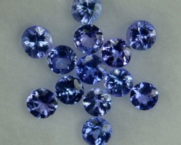 1.05 Cts Natural Blue Tanzanite 2.50 mm Round 13 Pcs Parcel