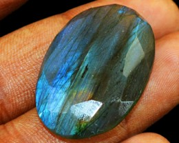 Genuine 34.80 Cts Faceted Blue Flash Labradorite Oval Shape Cab