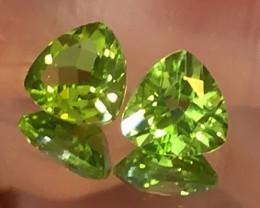 8.00mm Top Grade Pair of Peridot Trilliant Cut Gems VVS