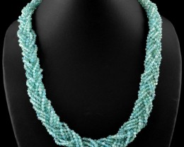 Genuine 490 Cts Blue Apatite Untreated Beads Necklace