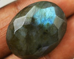 Genuine 27.00 Cts Faceted Blue Flash Labradorite Oval Shape Cab