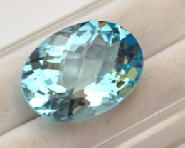 21.77 Carat Oval Checkerboard Cut Sky Blue Topaz