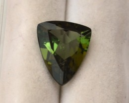 2.42 Carat Fancy Trillion Cut Green Tourmaline