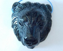 Lion Head Pendant, 266ct Natural Obsidian Handcarved Lion Head Necklace Pen