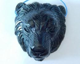 Lion Head Pendant, 266ct Natural Obsidian Handcarved Lion Head Necklace Pen