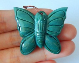 59ct Natural Wave Jasper Handcarved Beautiful Butterfly Necklace Pendant Be