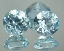 4.69 Cts Natural Sky Blue Topaz 7 mm Round 3 Pcs Brazil Gem