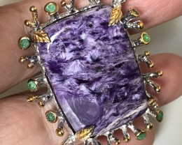 An exotic Huge Charoite Emerald Cocktail ring Size 9.5 Sterling Silver