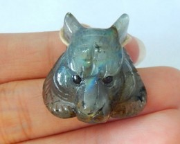 51ct Natural Labradorite Handcarved Tiger Head Necklace Pendant, Animal Han