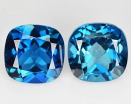 *PAIR* 8.08 Cts Natural London Blue Topaz Cushion Brazil