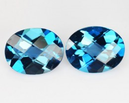 *PAIR* 5.50 Cts Natural London Blue Topaz Oval Checkerboard Brazil
